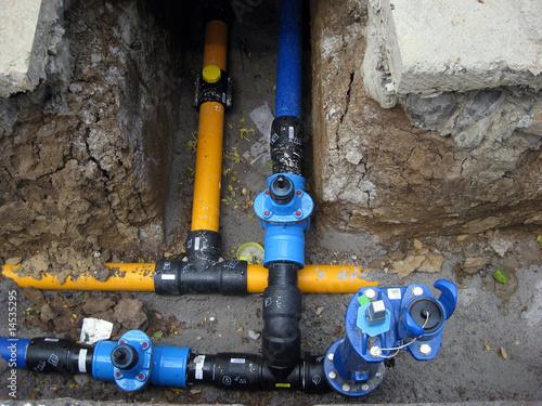 wasserleitung und gasleitung wird verlegt
