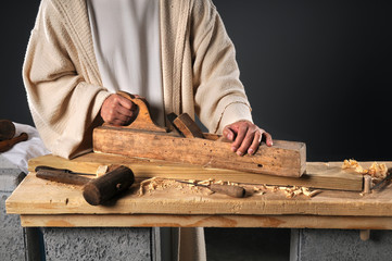 Jesus With Wood Plane