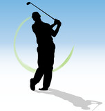 Vector silhouette of golfer with green trace.