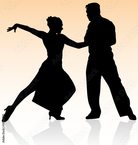 silhouettes of people dancing. Vector silhouette of couple