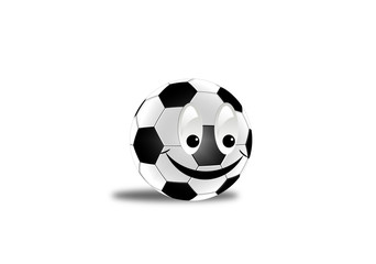 Ther is ñheerful football with a smiling face
