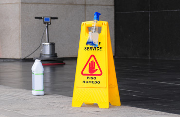 Caution, floor maintenance
