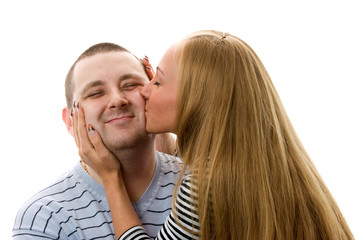 Couple kissing. Isolated on white background.