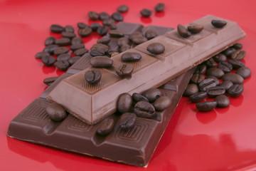 chocolate bar on red