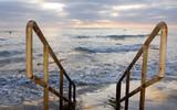 Beach Handrails to Ocean Surf, San Diego CA poster