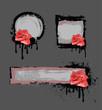 Grunge frame with rose