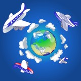 airplanes flying around the world-