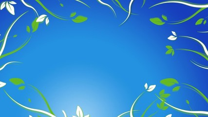 Animation champ fleurs fond ciel bleu