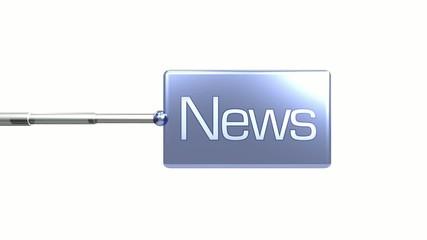 Panneau bleu News 3D fond blanc