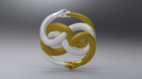 3d interlocking golden snake. Jewelry pendant poster