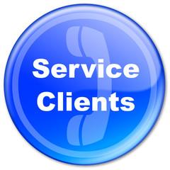 """Bouton """"Service Clients"""" (bleu)"""