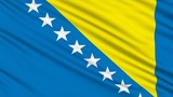 Bosnia and Herzegovina Flag, with real structure of a fabric poster