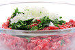 minced meat inside big transparent bowl