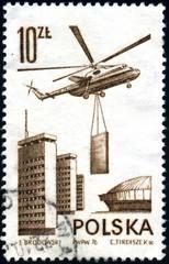 Polska. Hélicoptère et chantier de construction. Timbre.