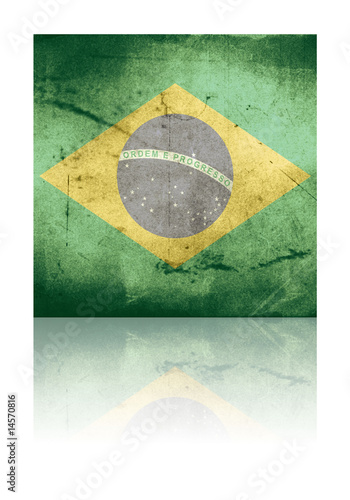 grunge flag of brazil with shadow