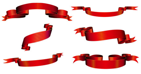Vector illustration of red blanked bows, ribbons and banners