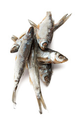 Dry fish isolated on white