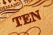 Macro photograph of ten pound note