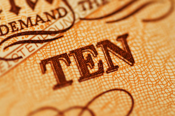 Macro photograph of ten pound note