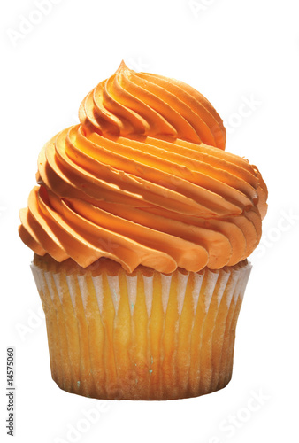 Tasty cupcake with orange icing