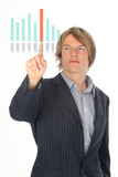 business man presenting on a virtual chart poster
