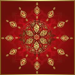 Traditional ottoman gold vector design