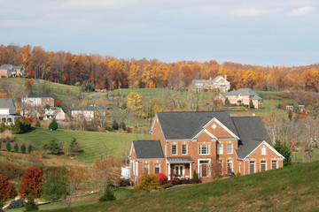 Luxury Homes: community of upscale homes, fall season
