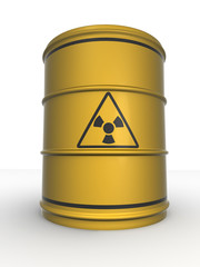 Barrel with sign Radiation. 3d