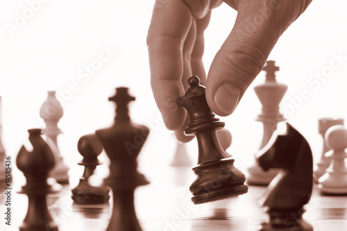 Chess game black queen advances
