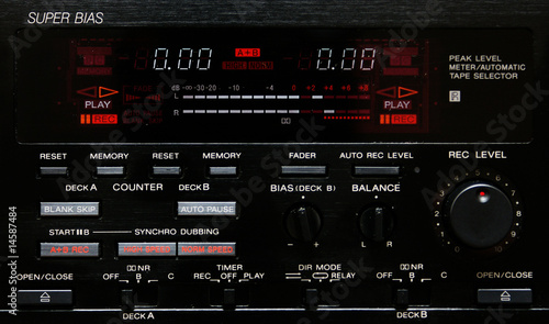 Leinwanddruck Bild peak level meter von einem cassette deck