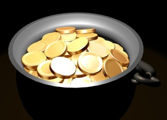 Pot with golden