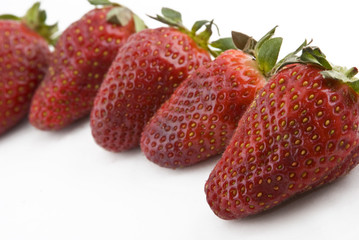 row of strawberries