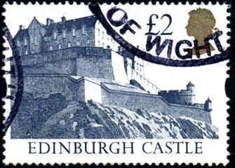 UK. Edinburgh Castle. Timbre postal oblitéré.