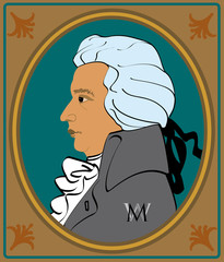 portrait wolfgang amadeus mozart in frame
