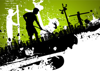 Abstract urban background with workers