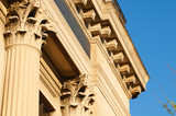 Columns and cornices on an old bank building poster