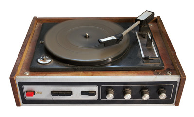 old record-player isolated on white background