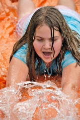 Playing on Water Slide