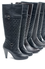 Row of black woman boot