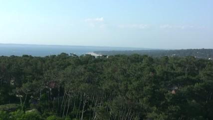 zoomer vers Arcachon depuis la dune du Pilat