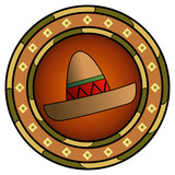 Mexican logo with sombrero and hot colors over white