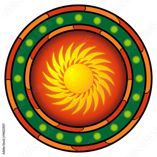 Mexican logo with sun and hot colors over white
