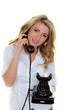 Woman on the telephone a customer service hotline