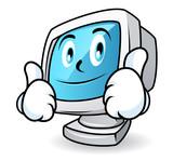 Computer mascot - thumbs up poster