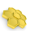 Computer generated image of 3D hexagons arranged in formation poster