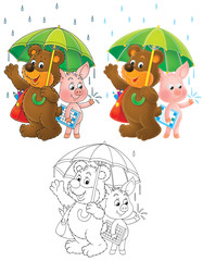 Bear and Piglet under the green umbrella