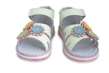 Beige light leather kids sandals.