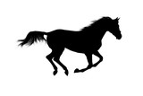 silhouette of galloping stallion