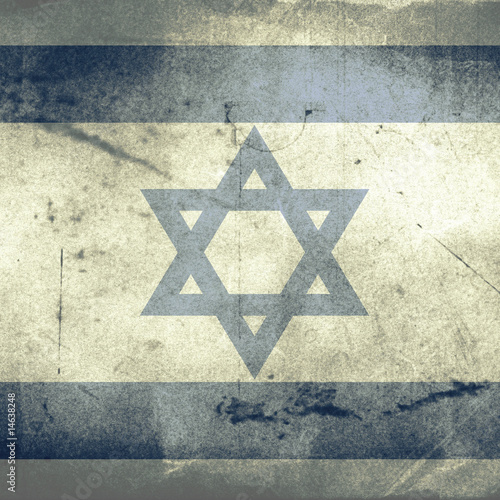 grunge flag of israel with shadow