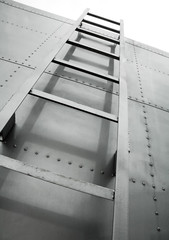 metal ladder on truck